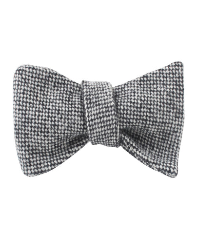 Black Porcupine English Wool Self Bow Tie