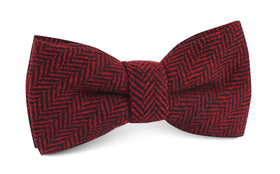 Black & Red Herringbone Wool Bow Tie