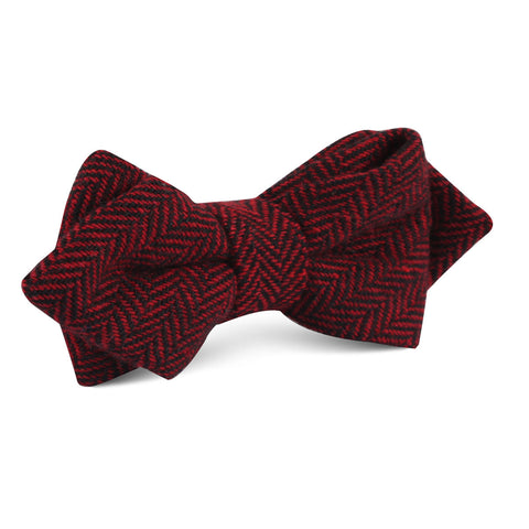 Black & Red Herringbone Wool Diamond Bow Tie