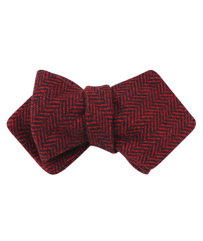 Black & Red Herringbone Wool Diamond Self Bow Tie