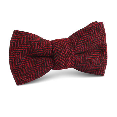 Black & Red Herringbone Wool Kids Bow Tie