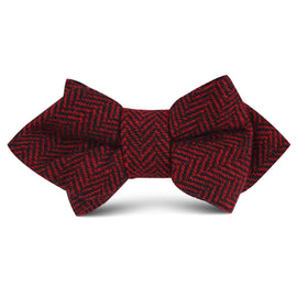 Black & Red Herringbone Wool Kids Diamond Bow Tie