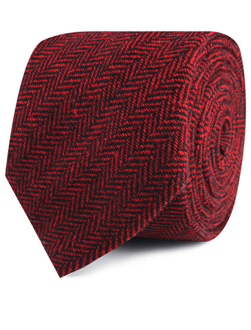 Black & Red Herringbone Wool Tie