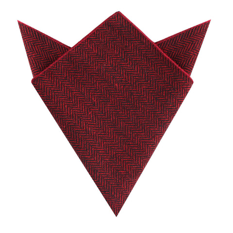 Black & Red Herringbone Wool Pocket Square