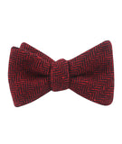 Black & Red Herringbone Wool Self Tied Bowtie