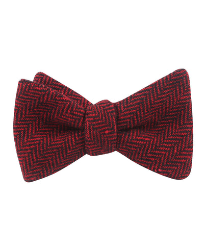 Black & Red Herringbone Wool Self Bow Tie