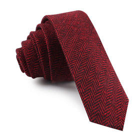 Black & Red Herringbone Wool Skinny Tie