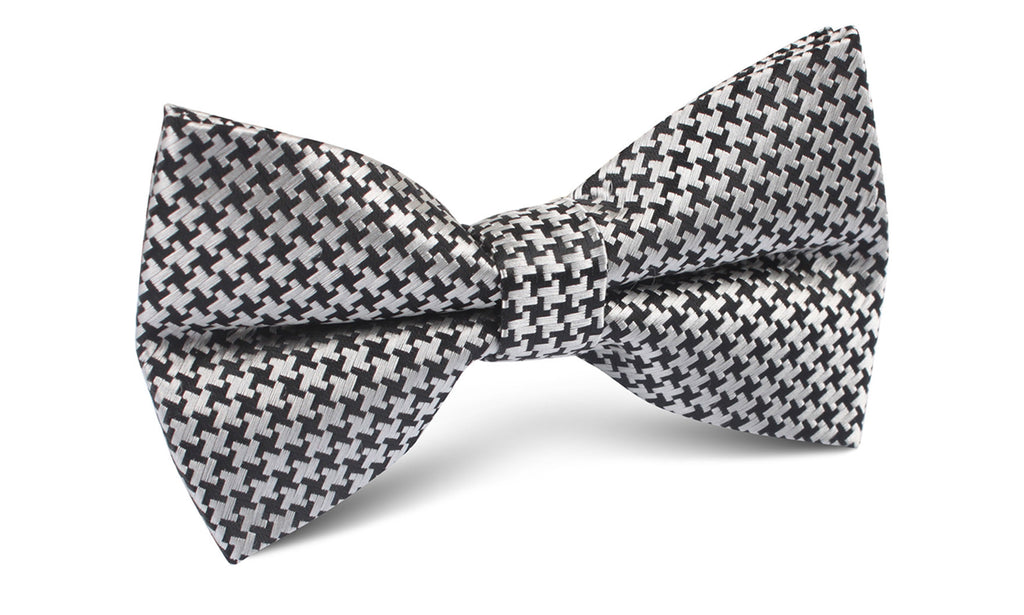 Black & Silver Houndstooth Pattern Bow Tie