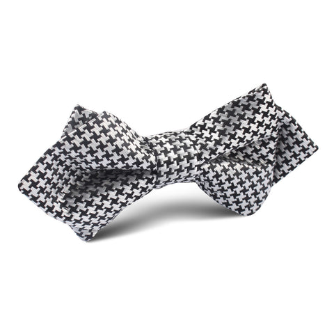 Black & Silver Houndstooth Pattern Diamond Bow Tie