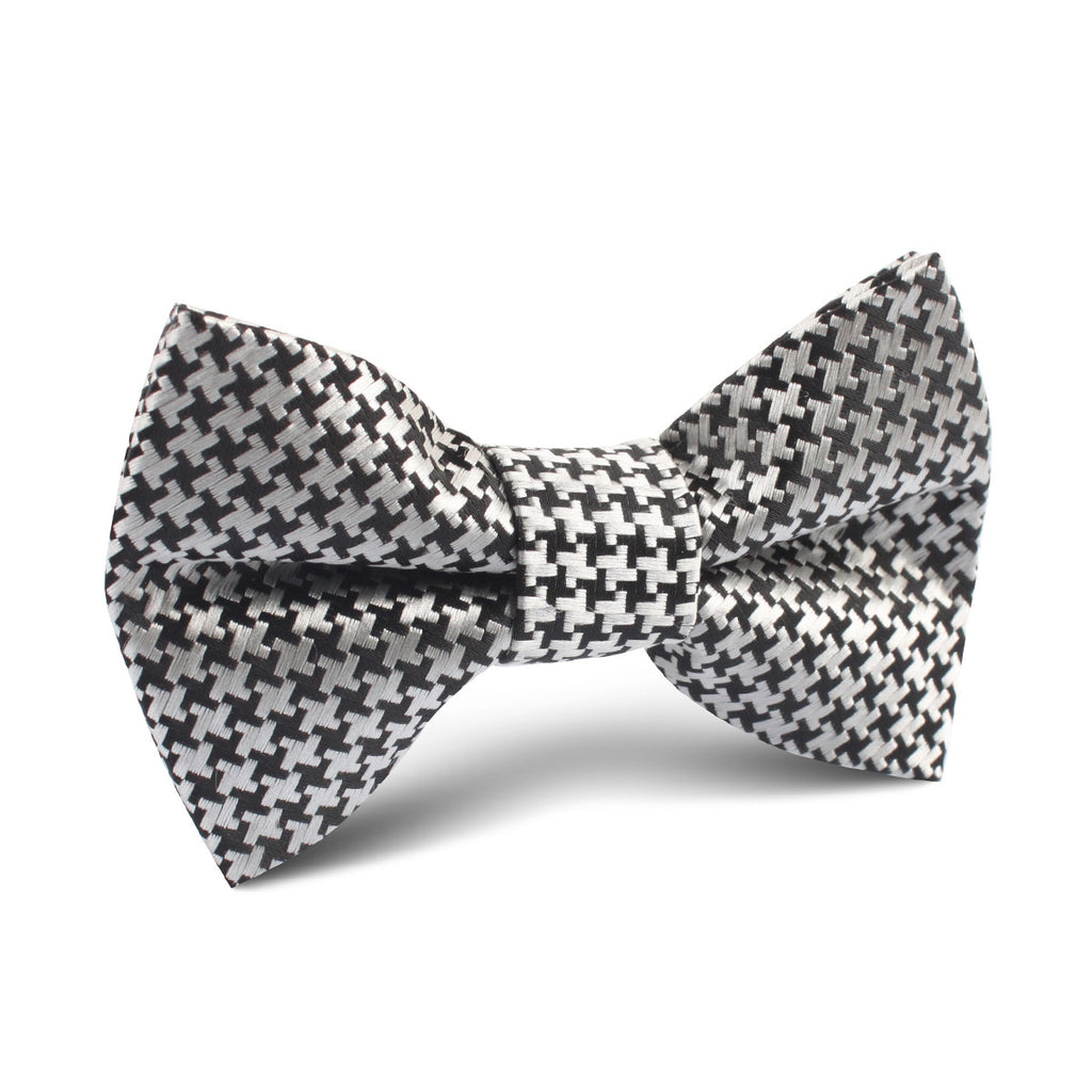 Black & Silver Houndstooth Pattern Kids Bow Tie | Kid Children Boys ...