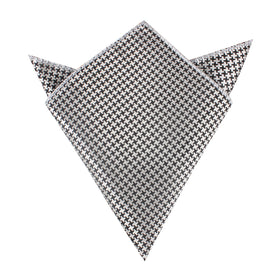 Black & Silver Houndstooth Pattern Pocket Square
