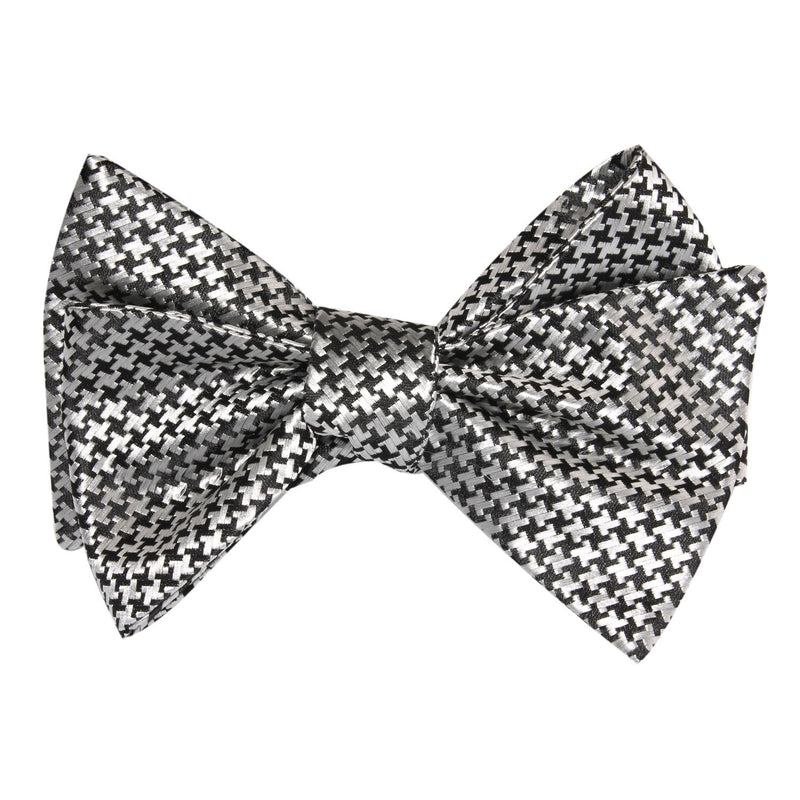 Black & Silver Houndstooth Pattern Self Tie Bow Tie | Untied Ties ...