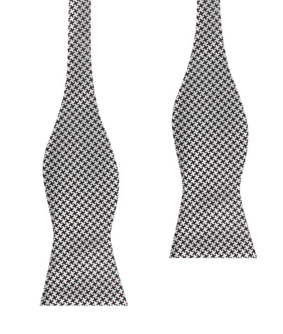 Black & Silver Houndstooth Pattern Self Tie Bow Tie