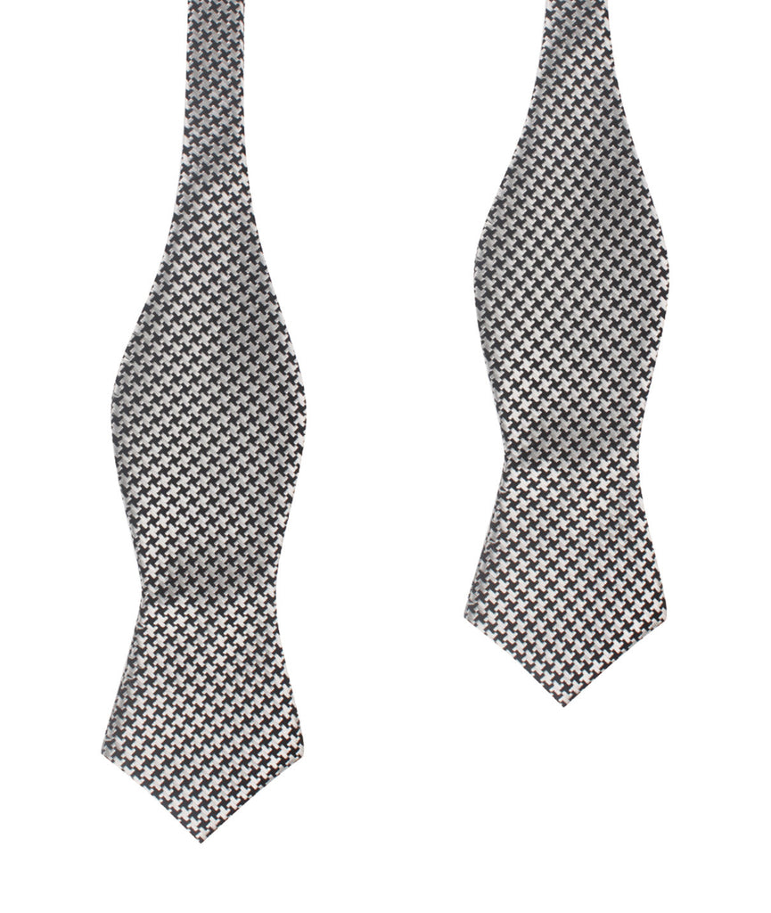 Black & Silver Houndstooth Pattern Self Tie Diamond Tip Bow Tie ...