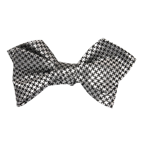 Black & Silver Houndstooth Pattern Self Tie Diamond Tip Bow Tie