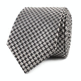 Black & Silver Houndstooth Pattern Skinny Tie Front Roll