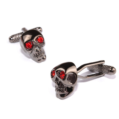 Black Skull Red Ruby Cufflinks