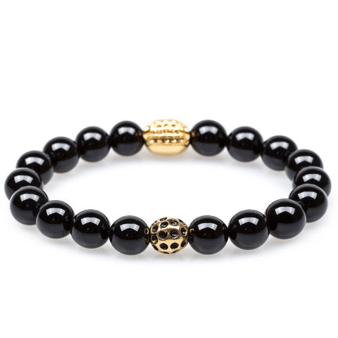 Black Smoke Onyx Gold Panther Bracelet