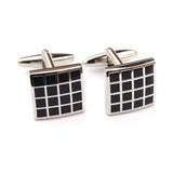 Black Square Grid Cufflinks Double Front Side
