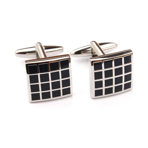 Black Square Grid Cufflinks