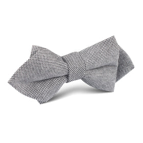 Black Tweed Linen Stitching Diamond Bow Tie