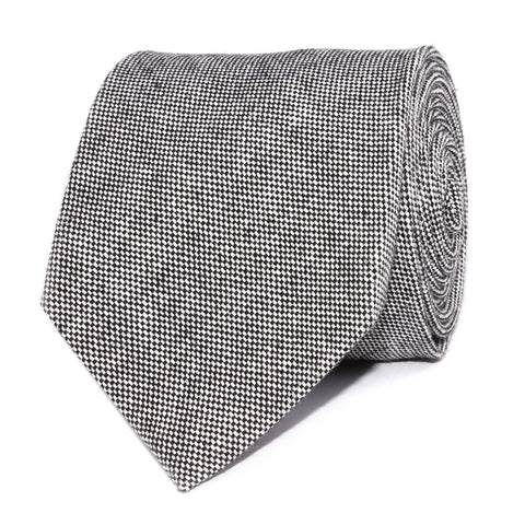 Black Tweed Linen Stitching Necktie