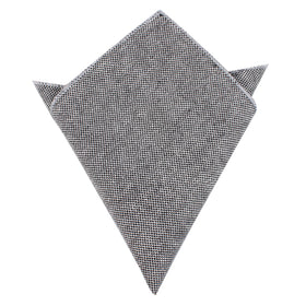 Black Tweed Linen Stitching Pocket Square