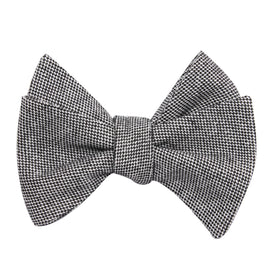Black Tweed Linen Stitching Self Tie Bow Tie