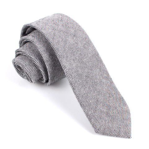 Black Tweed Linen Stitching Skinny Tie