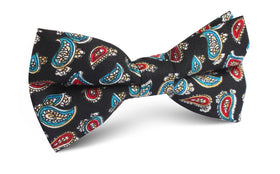 Black Twisted Teardrop Paisley Bow Tie
