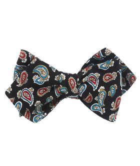 Black Twisted Teardrop Paisley Diamond Self Bow Tie