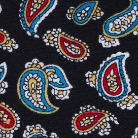 Black Twisted Teardrop Paisley Kids Diamond Bow Tie