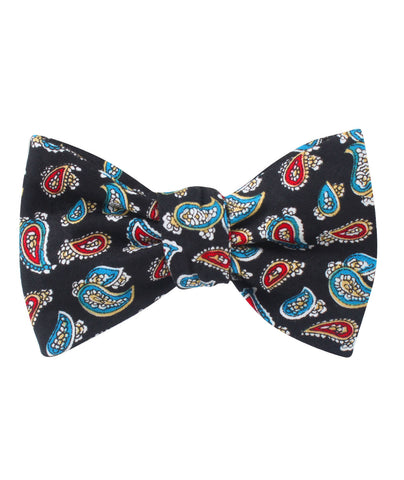 Black Twisted Teardrop Paisley Self Bow Tie