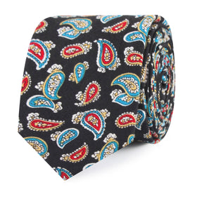 Black Twisted Teardrop Paisley Skinny Tie