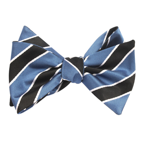 Black White Blue Striped Bow Tie Untied