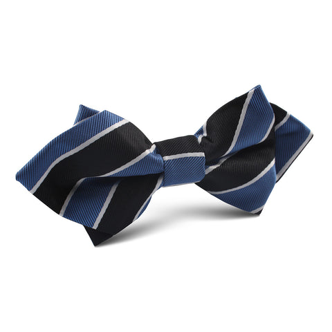 Black White Blue Striped Diamond Bow Tie