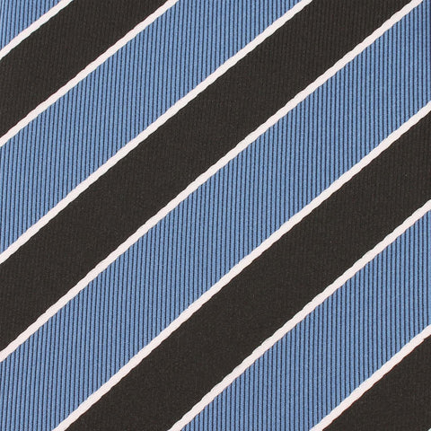Black White Blue Striped Bow Tie