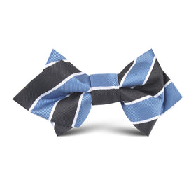 Black White Blue Striped Kids Diamond Bow Tie