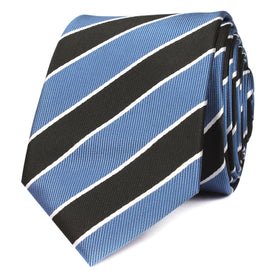 Black White Blue Striped Skinny Tie