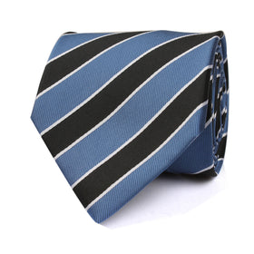 Black White Blue Striped Tie
