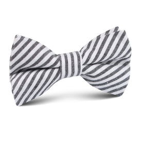 Black & White Chalk Stripe Cotton Kids Bow Tie