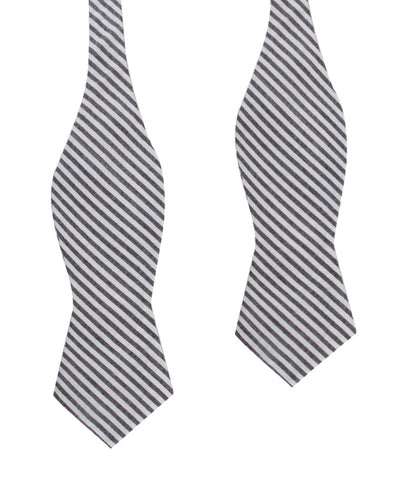 Black & White Chalk Stripe Cotton Self Tie Diamond Bow Tie