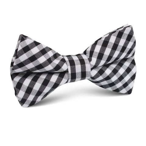 Black & White Gingham Cotton Kids Bow Tie