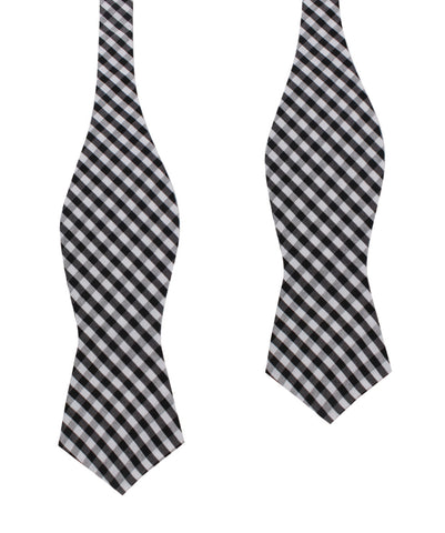 Black & White Gingham Cotton Self Tie Diamond Bow Tie
