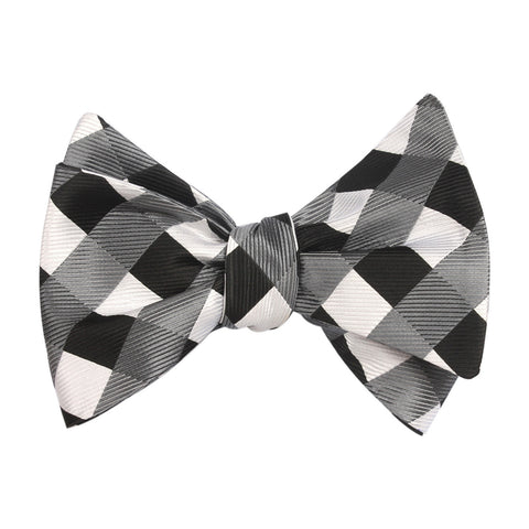 Black White Grey Checkered Bow Tie Untied X033 OTAA