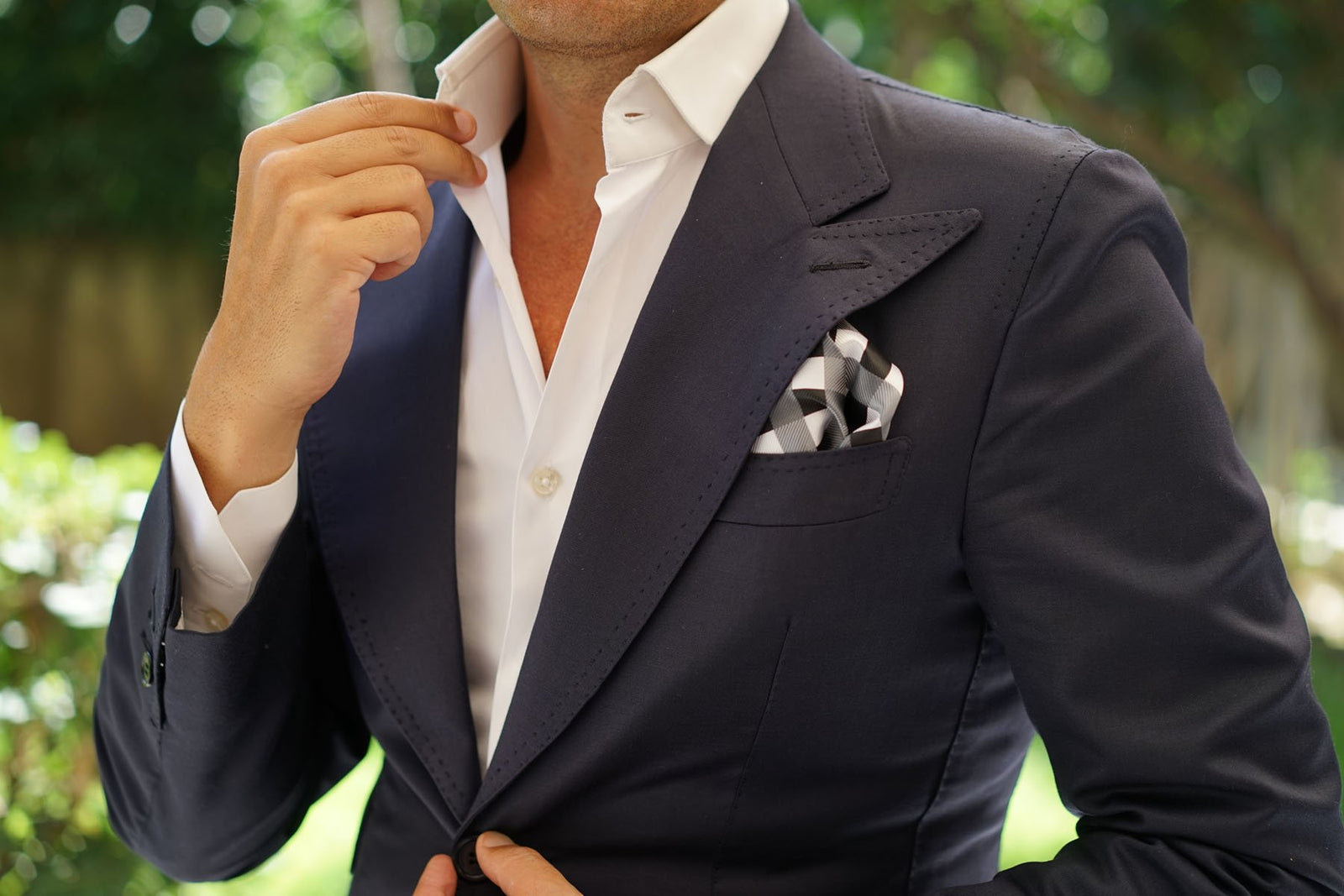 Black White Grey Checkered - Pocket Square