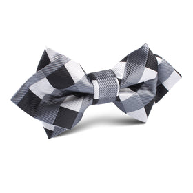 Black White Grey Checkered Diamond Bow Tie