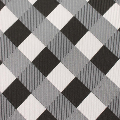 Black White Grey Checkered Kids Bow Tie
