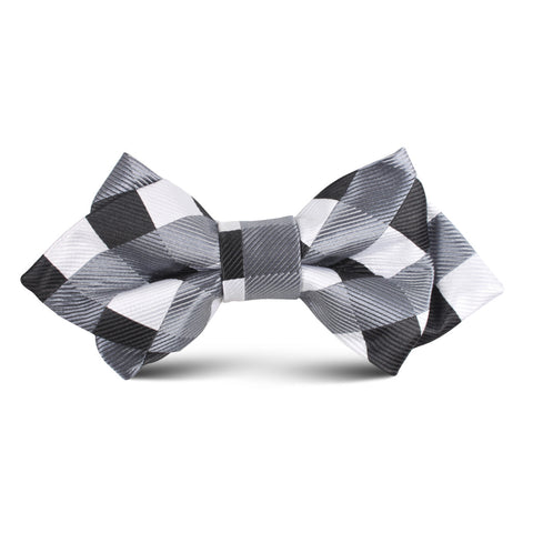 Black White Grey Checkered Kids Diamond Bow Tie