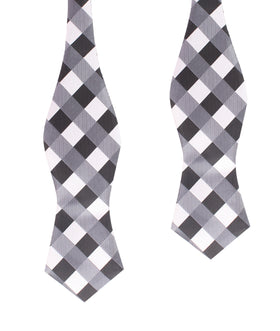 Black White Grey Checkered Self Tie Diamond Tip Bow Tie